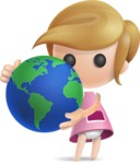 Simple Little Girl Vector 3D Cartoon Character AKA Ellie Babylicious - Earth