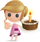 Simple Little Girl Vector 3D Cartoon Character AKA Ellie Babylicious - Cake