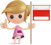 Simple Little Girl Vector 3D Cartoon Character AKA Ellie Babylicious - Sign 10
