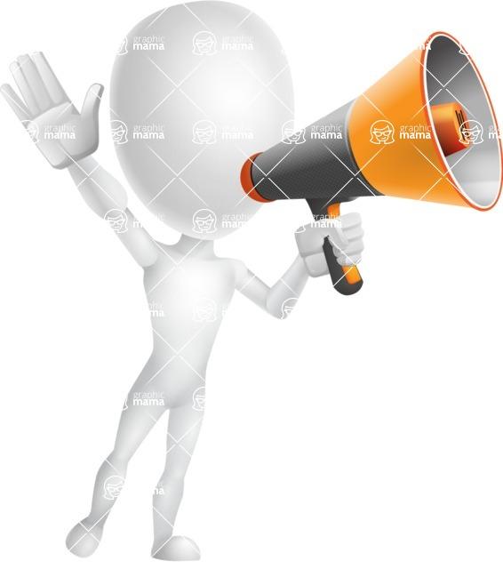 Vector 3D Man Model Cartoon Character AKA Maddox - Loudspeaker