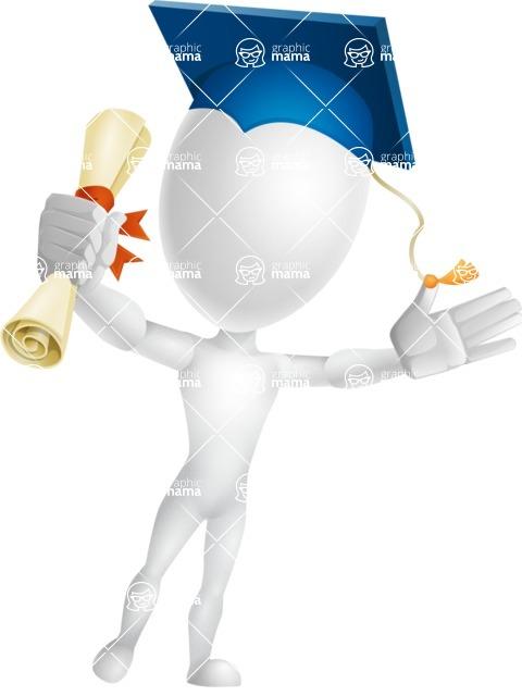 Vector 3D Man Model Cartoon Character AKA Maddox - Graduation