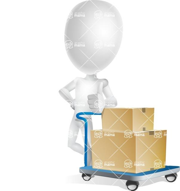 Vector 3D Man Model Cartoon Character AKA Maddox - Pushcart