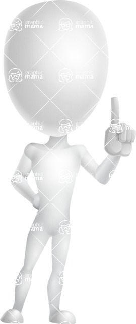 Vector 3D Man Model Cartoon Character AKA Maddox - Attention