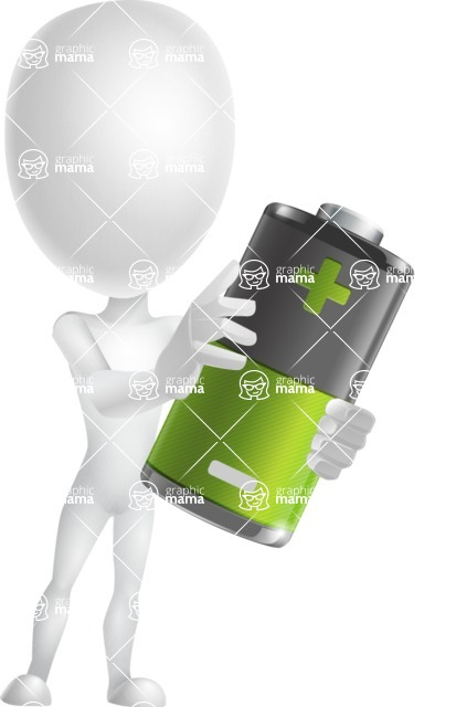 Vector 3D Man Model Cartoon Character AKA Maddox - Battery