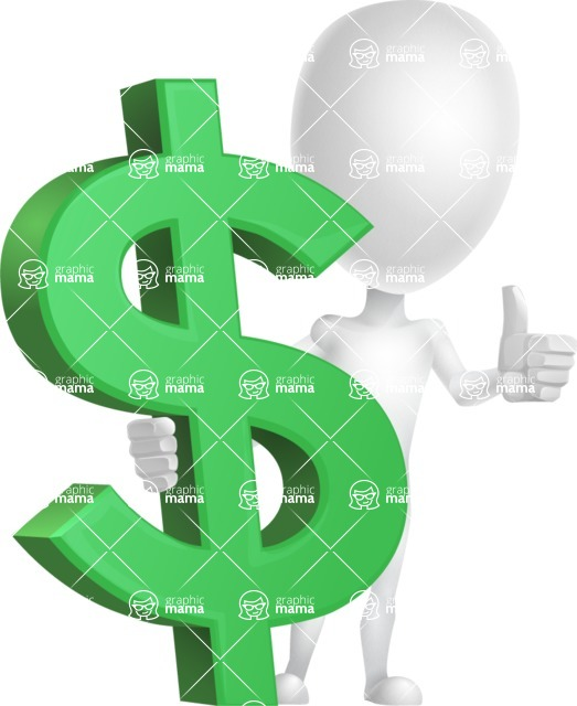 Vector 3D Man Model Cartoon Character AKA Maddox - Dollar