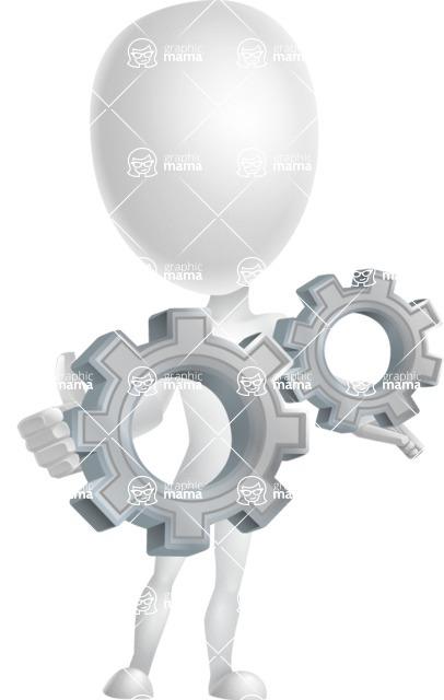 Vector 3D Man Model Cartoon Character AKA Maddox - Gears