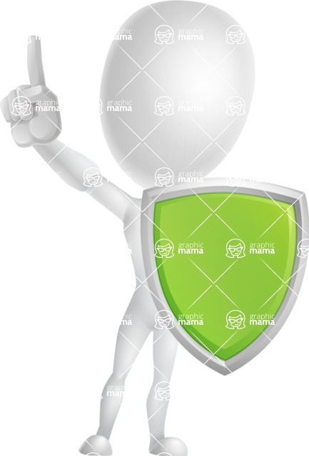 Vector 3D Man Model Cartoon Character AKA Maddox - Shield