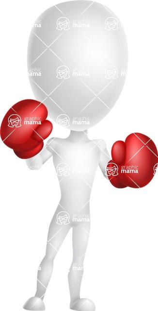 Vector 3D Man Model Cartoon Character AKA Maddox - Boxing