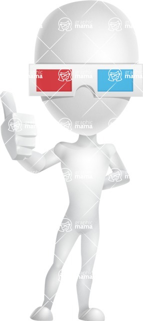 Vector 3D Man Model Cartoon Character AKA Maddox - 3D Glasses