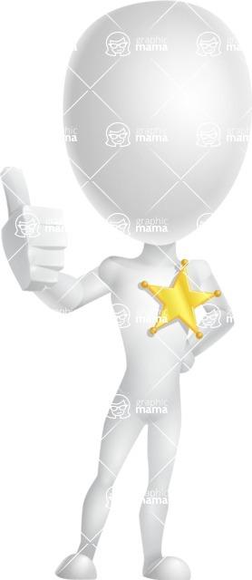 Vector 3D Man Model Cartoon Character AKA Maddox - Sheriff