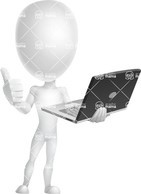 Vector 3D Man Model Cartoon Character AKA Maddox - Laptop 3