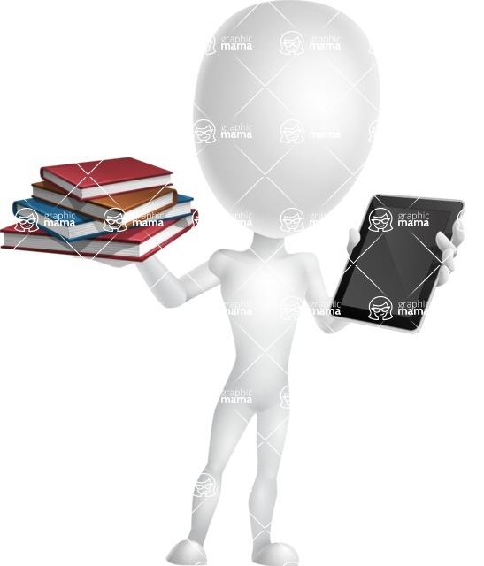 Vector 3D Man Model Cartoon Character AKA Maddox - Book and iPad