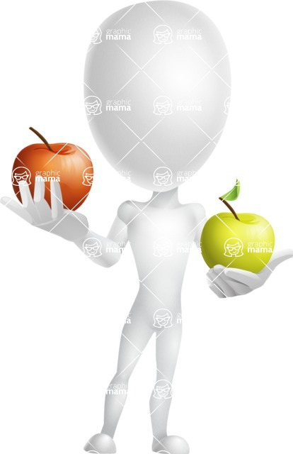 Vector 3D Man Model Cartoon Character AKA Maddox - Apples