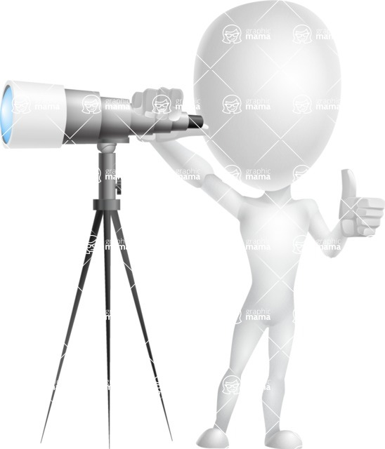Vector 3D Man Model Cartoon Character AKA Maddox - Telescope