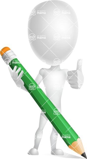 Vector 3D Man Model Cartoon Character AKA Maddox - Pencil