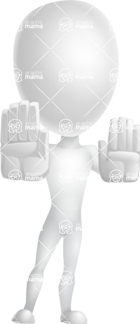 Vector 3D Man Model Cartoon Character AKA Maddox - Stop