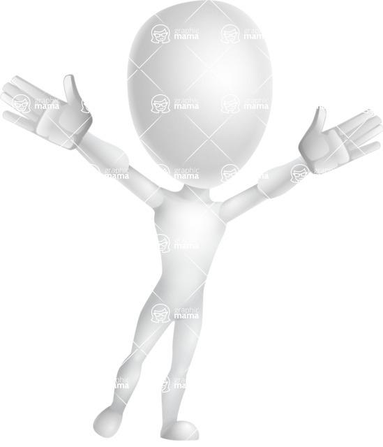 Vector 3D Man Model Cartoon Character AKA Maddox - Happy