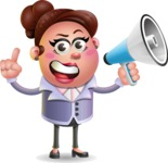 Clay Business Woman Cartoon Vector Character AKA Ruth O'Truth - Loudspeaker