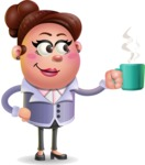 Clay Business Woman Cartoon Vector Character AKA Ruth O'Truth - Coffee