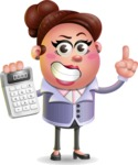 Clay Business Woman Cartoon Vector Character AKA Ruth O'Truth - Calculator