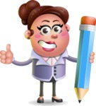 Clay Business Woman Cartoon Vector Character AKA Ruth O'Truth - Pencil