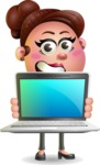 Clay Business Woman Cartoon Vector Character AKA Ruth O'Truth - Laptop 2