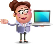 Clay Business Woman Cartoon Vector Character AKA Ruth O'Truth - Laptop 3