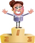 Clay Business Woman Cartoon Vector Character AKA Ruth O'Truth - On Top