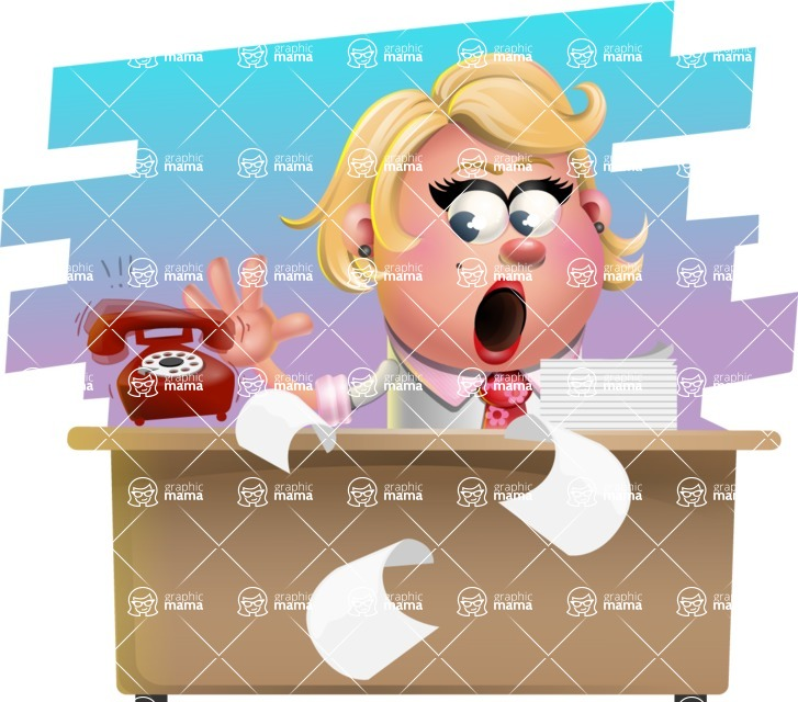 Stop Motion Style Business Girl Cartoon Vector Character AKA Sandra Jobs - Shape 9