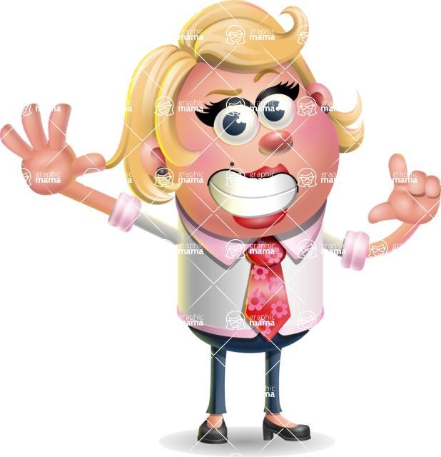Stop Motion Style Business Girl Cartoon Vector Character AKA Sandra Jobs - Hello