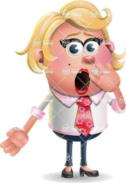 Stop Motion Style Business Girl Cartoon Vector Character AKA Sandra Jobs - Oops