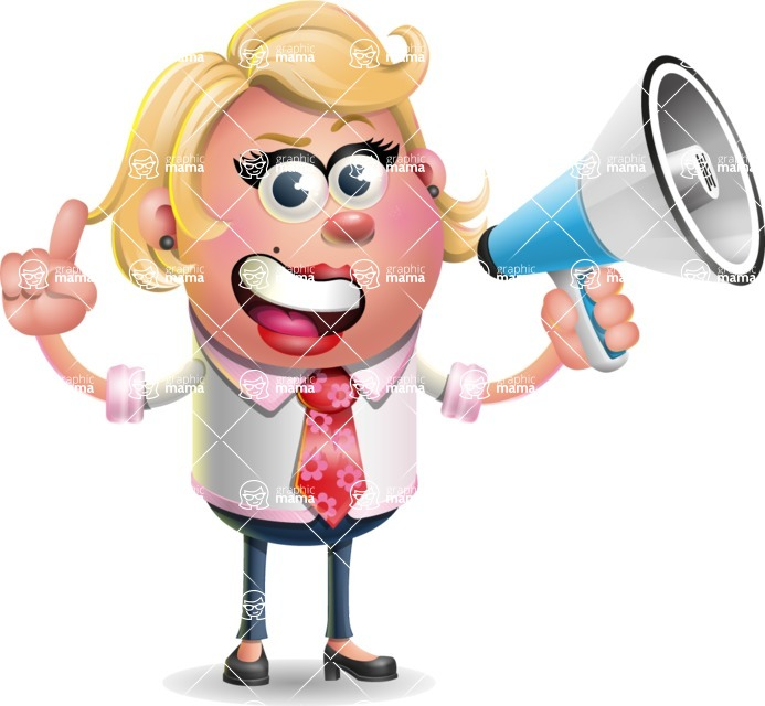 Stop Motion Style Business Girl Cartoon Vector Character AKA Sandra Jobs - Loudspeaker