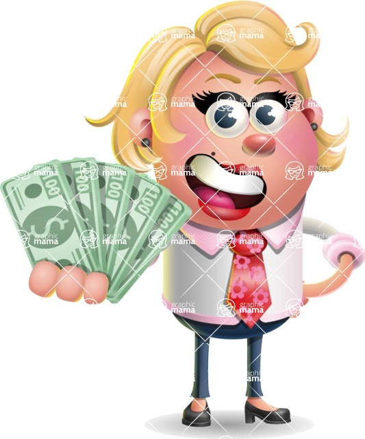Stop Motion Style Business Girl Cartoon Vector Character AKA Sandra Jobs - Show me  the Money