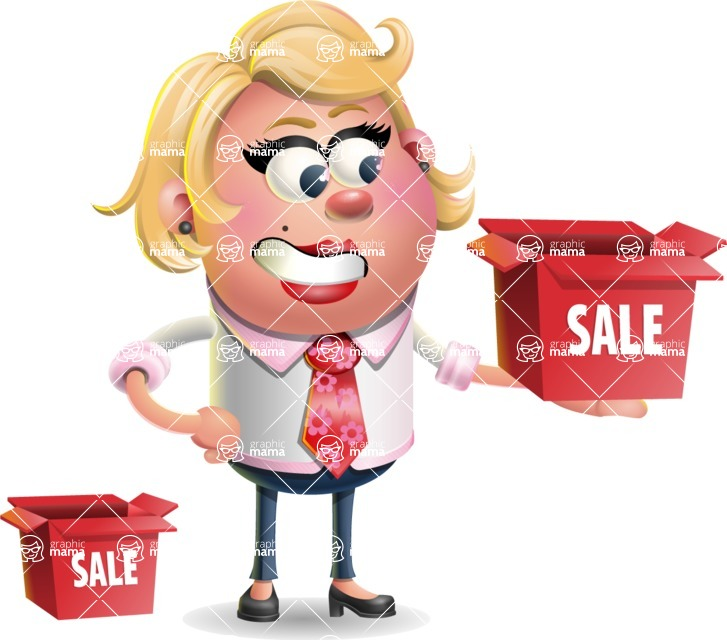 Stop Motion Style Business Girl Cartoon Vector Character AKA Sandra Jobs - Sale