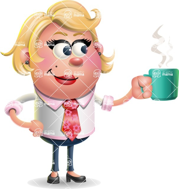 Stop Motion Style Business Girl Cartoon Vector Character AKA Sandra Jobs - Coffee