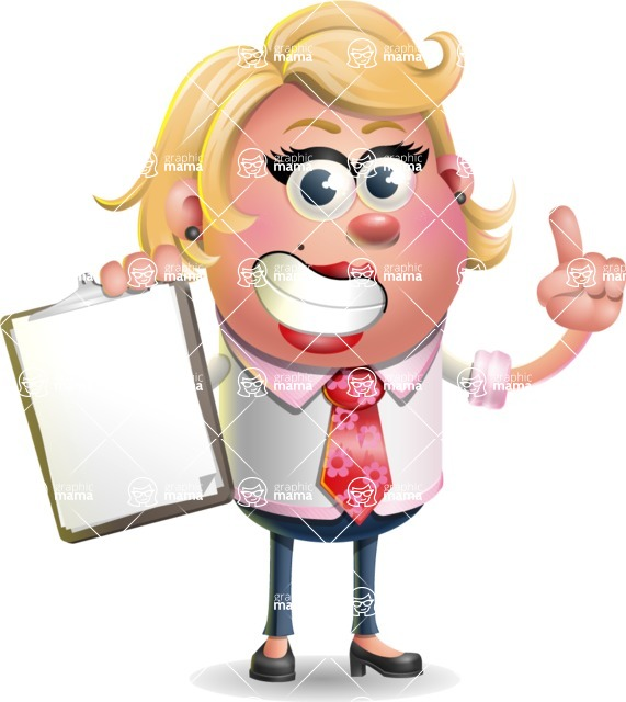 Stop Motion Style Business Girl Cartoon Vector Character AKA Sandra Jobs - Notepad 1