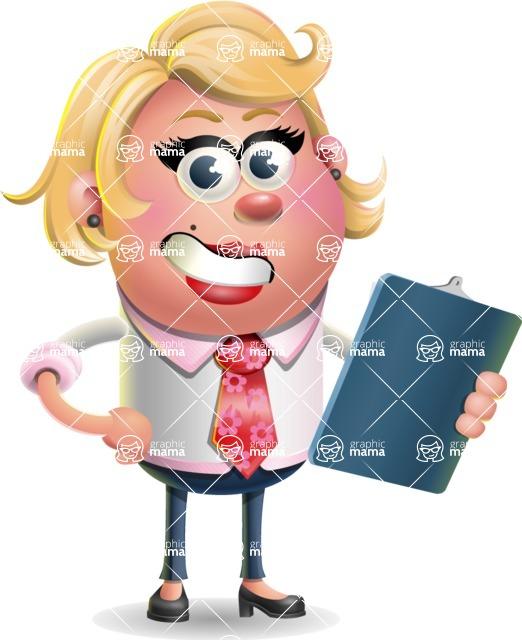 Stop Motion Style Business Girl Cartoon Vector Character AKA Sandra Jobs - Notepad 2