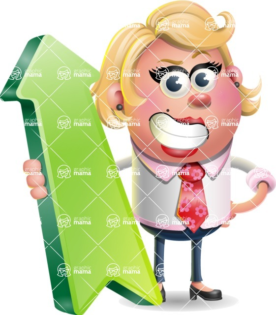Stop Motion Style Business Girl Cartoon Vector Character AKA Sandra Jobs - Pointer 1