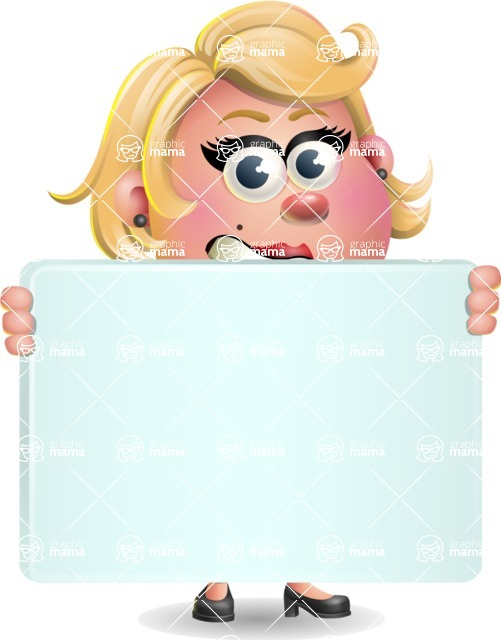 Stop Motion Style Business Girl Cartoon Vector Character AKA Sandra Jobs - Sign 5