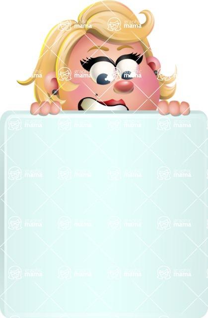 Stop Motion Style Business Girl Cartoon Vector Character AKA Sandra Jobs - Sign 6