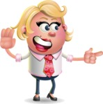 Stop Motion Style Business Girl Cartoon Vector Character AKA Sandra Jobs - Direct Attention 2