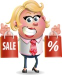 Stop Motion Style Business Girl Cartoon Vector Character AKA Sandra Jobs - Sale 2