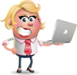 Stop Motion Style Business Girl Cartoon Vector Character AKA Sandra Jobs - Laptop 1