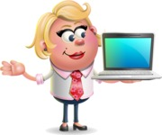 Stop Motion Style Business Girl Cartoon Vector Character AKA Sandra Jobs - Laptop 3