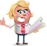 Stop Motion Style Business Girl Cartoon Vector Character AKA Sandra Jobs - Plans
