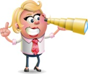 Stop Motion Style Business Girl Cartoon Vector Character AKA Sandra Jobs - Telescope