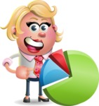 Stop Motion Style Business Girl Cartoon Vector Character AKA Sandra Jobs - Chart