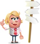 Stop Motion Style Business Girl Cartoon Vector Character AKA Sandra Jobs - Crossroad