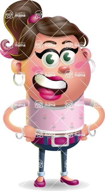 Cute Casual Girl Vector 3D Cartoon Character AKA Molly Chic - Normal