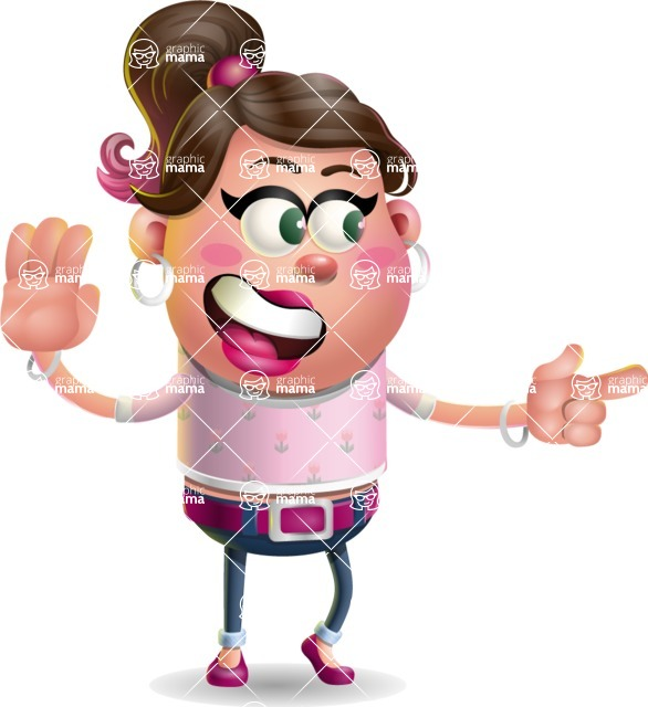 Cute Casual Girl Vector 3D Cartoon Character AKA Molly Chic - Direct Attention 2